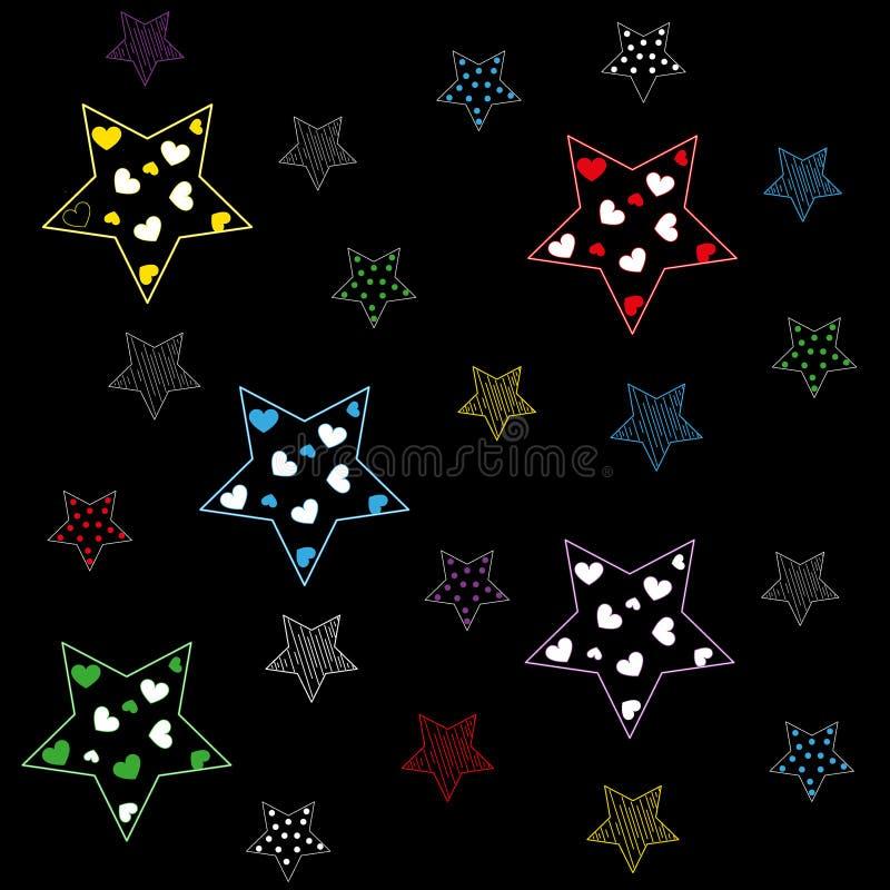 Πολύχρωμα αστέρια σε ένα μαύρο υπόβαθρο διανυσματική απεικόνιση