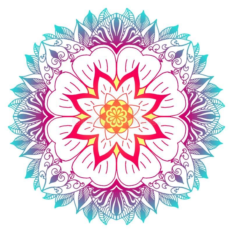 Πολύχρωμο mandala με τα μοτίβα λουλουδιών και εγκαταστάσεων ελεύθερη απεικόνιση δικαιώματος