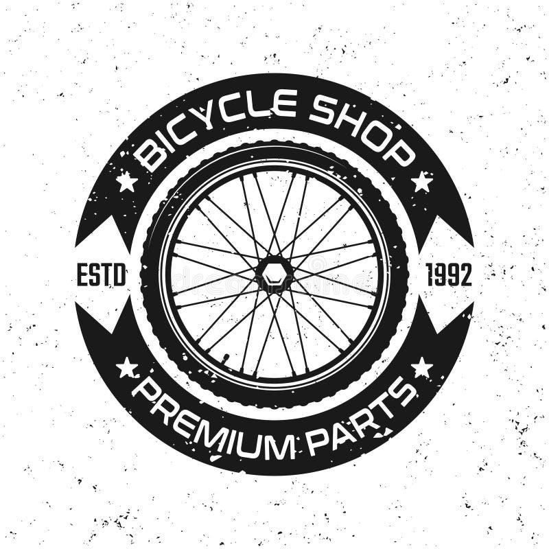 Ποδήλατο γύρω από το διανυσματικό αναδρομικό έμβλημα με τη ρόδα ποδηλάτων διανυσματική απεικόνιση