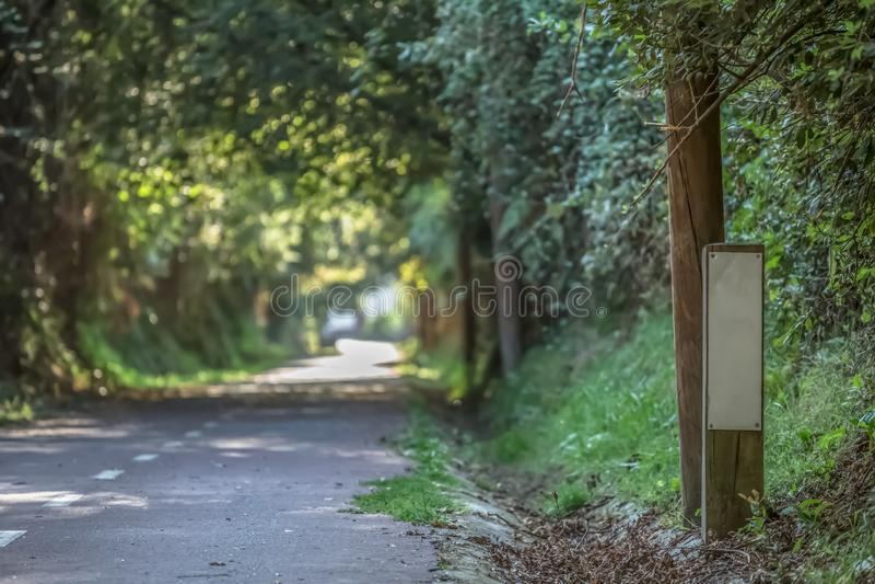 Πορεία eco πεζών και κύκλων, δέντρα και βλάστηση, στο Βιζέου στοκ εικόνες