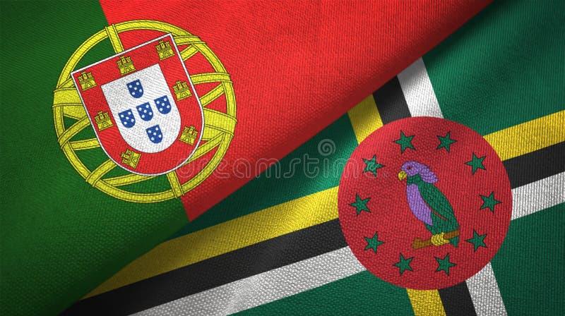 Πορτογαλία και Δομίνικα δύο υφαντικό ύφασμα σημαιών, σύσταση υφάσματος απεικόνιση αποθεμάτων