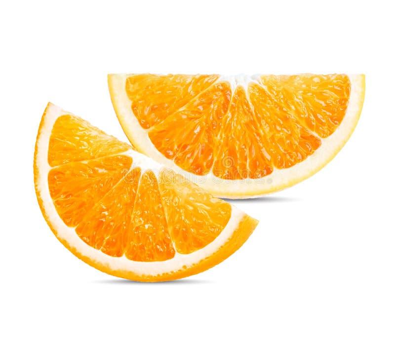 Πορτοκαλής καρπός Η φέτα ουρακοτάγκων απομονώνει στο άσπρο υπόβαθρο στοκ εικόνα