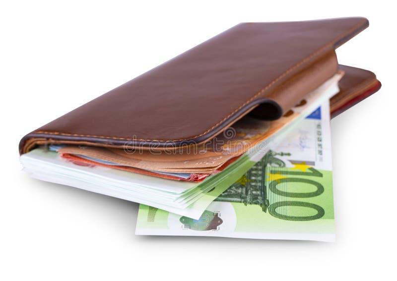 Πορτοφόλι δέρματος και απόσυρση του ευρωπαϊκού νομίσματος στοκ εικόνες