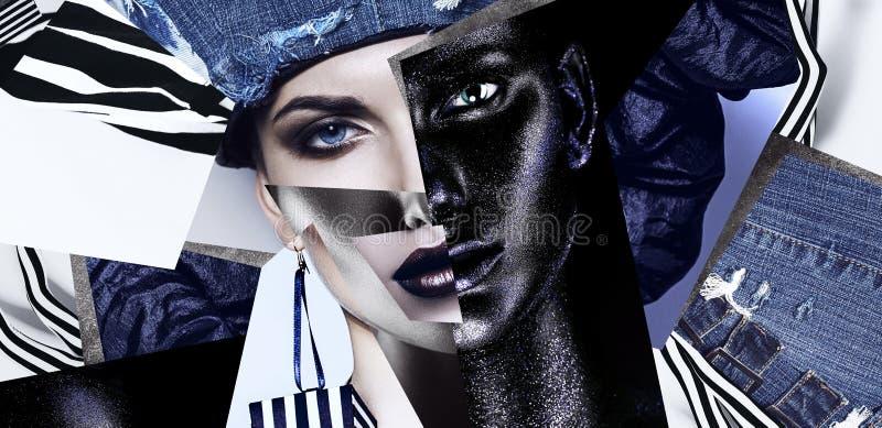 Πορτρέτο της γυναίκας στο καπέλο τζιν και τα ριγωτά εξαρτήματα απεικόνιση αποθεμάτων