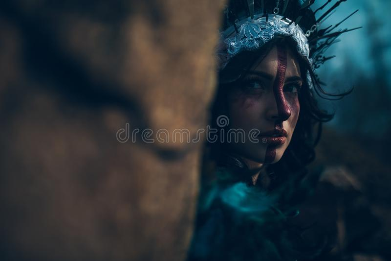 Πορτρέτο της νέας γυναίκας στην εικόνα μιας νεράιδας και μιας μάγισσας που στέκονται δίπλα στο βράχο στοκ εικόνες