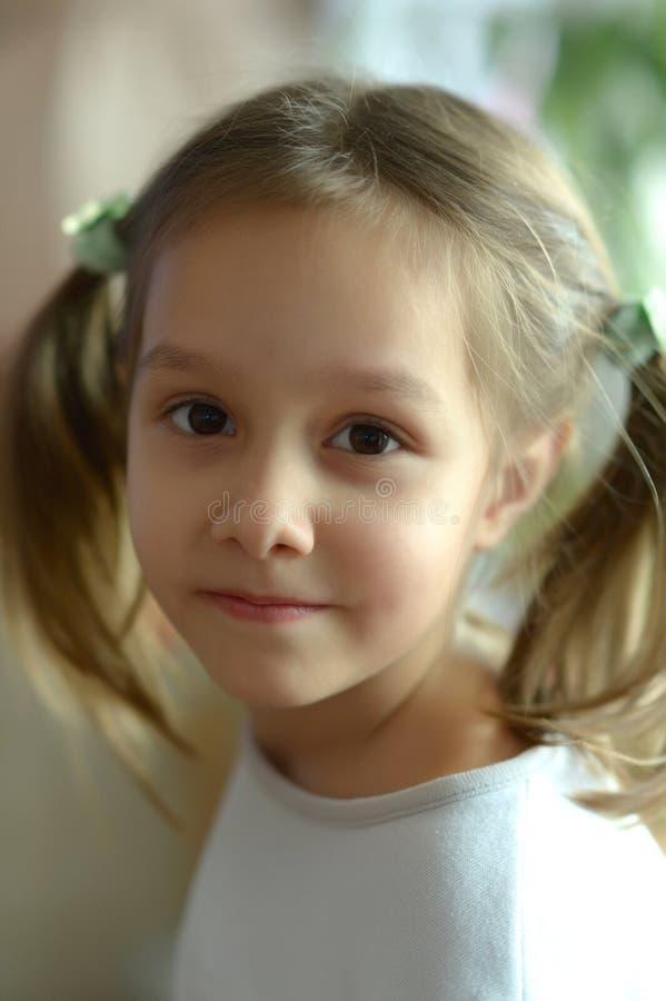 Πορτρέτο του μικρού κοριτσιού σε μια καρέκλα στο σπίτι στοκ φωτογραφίες με δικαίωμα ελεύθερης χρήσης