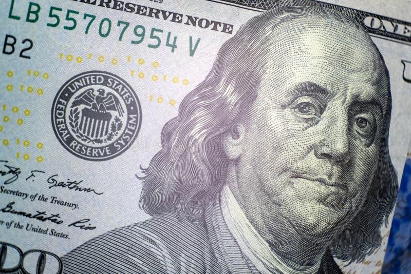 πορτρέτο franklin Κινηματογράφηση σε πρώτο πλάνο ενός μέρους των ΗΠΑ λογαριασμός εκατό δολαρίων Μακροεντολή Σύμβολο του πλούτου κ στοκ εικόνες