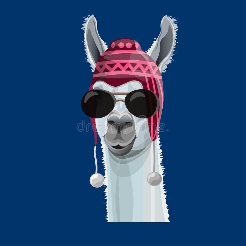 Πορτρέτο llama σε ένα καπέλο απεικόνιση αποθεμάτων