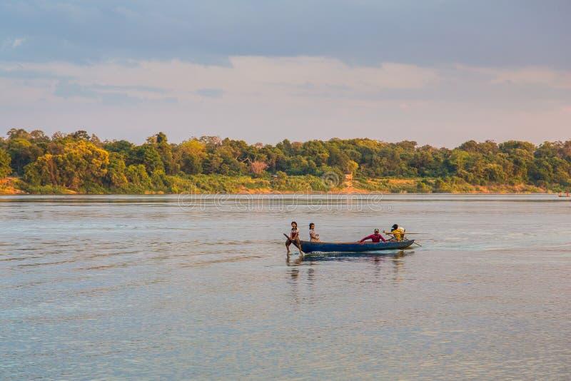 Ποταμός Μεκόνγκ, Καμπότζη στις 5 Δεκεμβρίου 2018 στοκ εικόνες