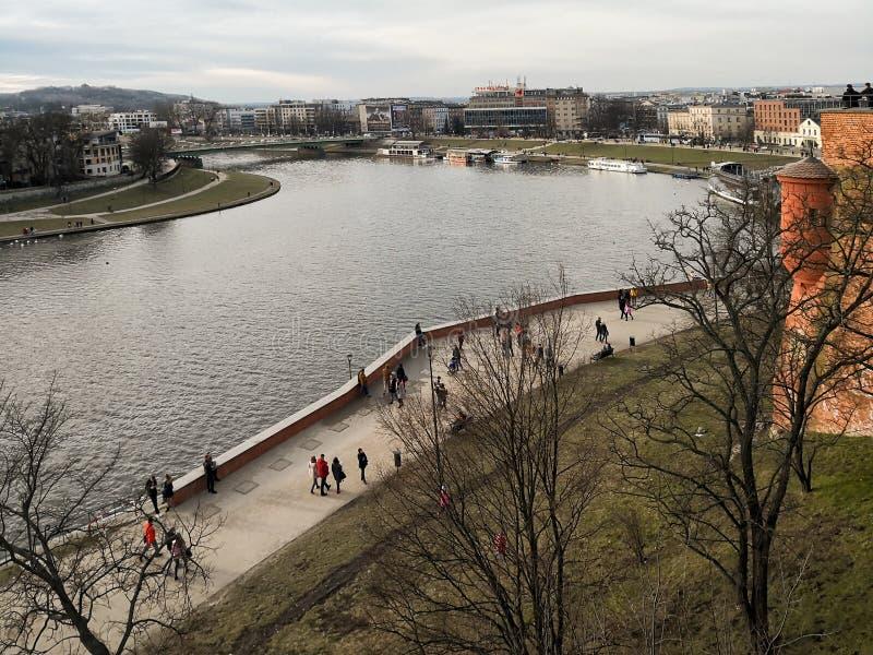 Ποταμός Vistula στο κέντρο πόλεων στοκ φωτογραφία