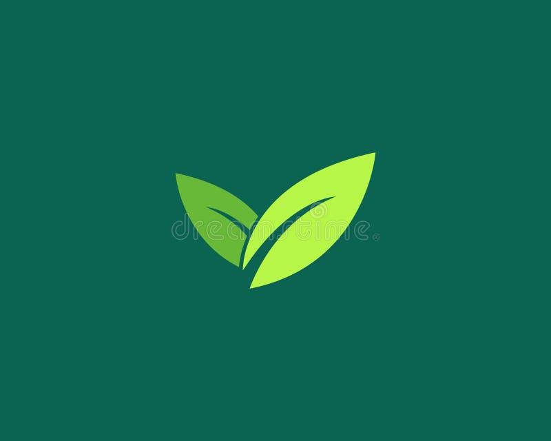 πράσινα λογότυπο και σύμβολο φύσης φύλλων διανυσματική απεικόνιση