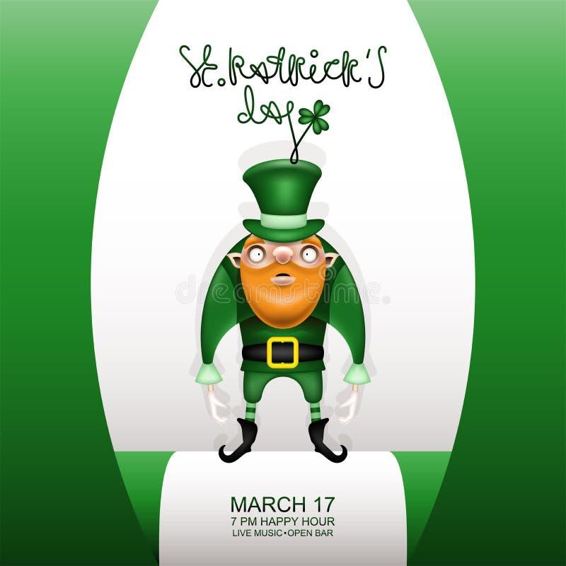 Πράσινη κάρτα Gretting και στοιχειό και πράσινο καπέλο διανυσματική απεικόνιση