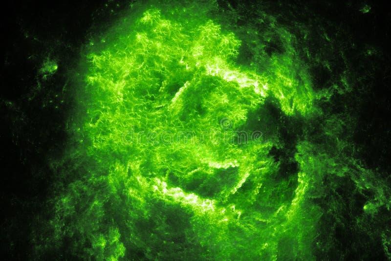 Πράσινη καμμένος υψηλής ενέργειας φλόγα στο διάστημα απεικόνιση αποθεμάτων