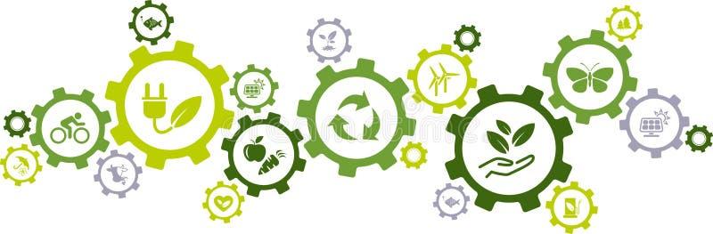Πράσινη οικολογία, περιβάλλον, εικονίδια ικανότητας υποστήριξης/έννοια εργαλείων - διανυσματική απεικόνιση ελεύθερη απεικόνιση δικαιώματος
