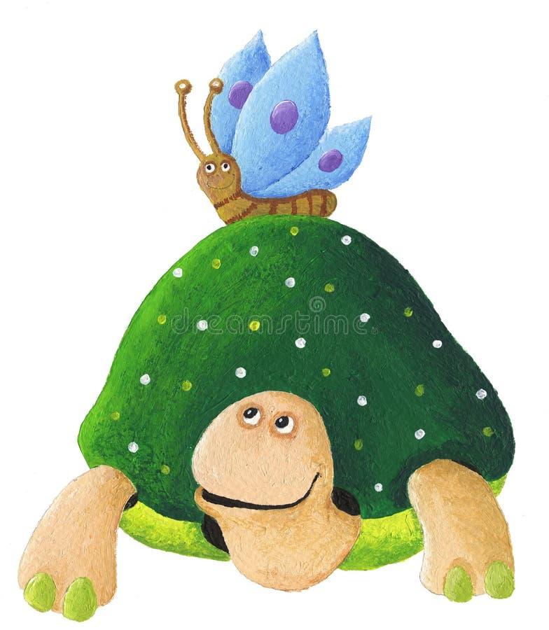 Πράσινη χελώνα με το μπλε μια πεταλούδα ελεύθερη απεικόνιση δικαιώματος