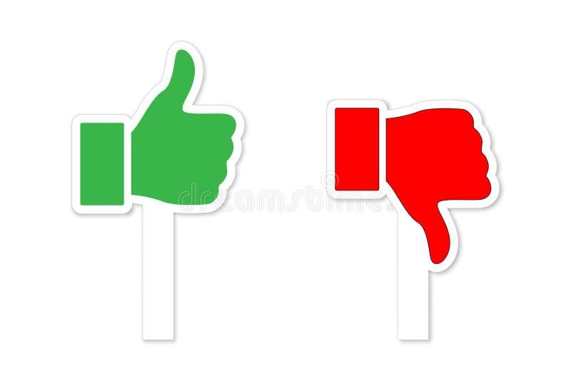 Πράσινοι αντίχειρες επάνω και κόκκινοι αντίχειρες κάτω από τα σύμβολα στα ραβδιά που απομονώνονται στο άσπρο υπόβαθρο το σχέδιο ε ελεύθερη απεικόνιση δικαιώματος
