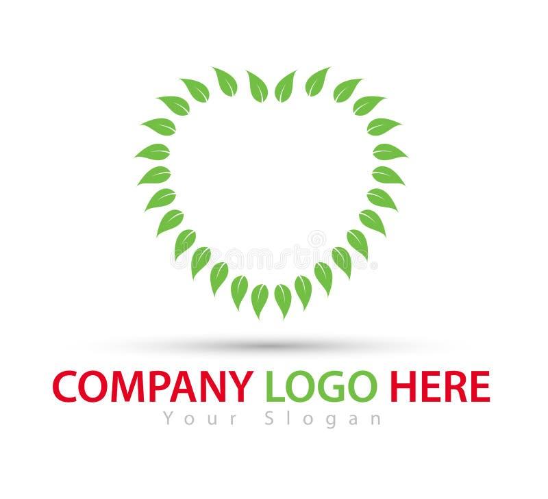 Πράσινος βγάζει φύλλα το νέο καθιερώνον τη μόδα διάνυσμα λογότυπων έννοιας καρδιών απεικόνιση αποθεμάτων