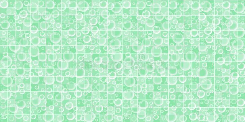Πράσινος κεραμωμένος λουτρό τοίχος με τις πετώντας φυσαλίδες σαπουνιών διανυσματική απεικόνιση