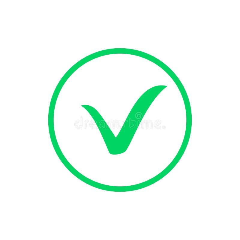 Πράσινο εικονίδιο σημαδιών ελέγχου απεικόνιση αποθεμάτων