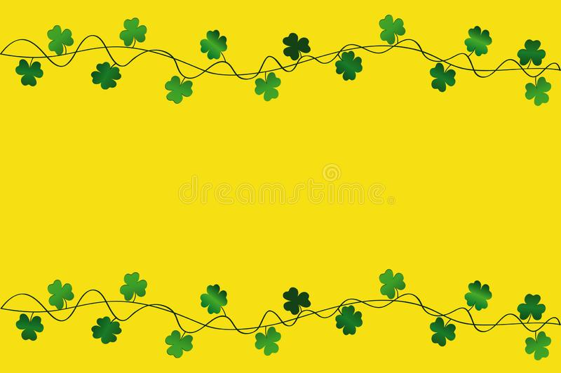 Πράσινο εορταστικό ύφασμα με το τριφύλλι Ιρλανδικές διακοπές - ευτυχής ημέρα του ST Πάτρικ ` s με μια γιρλάντα του τρεις-φύλλου Ε απεικόνιση αποθεμάτων