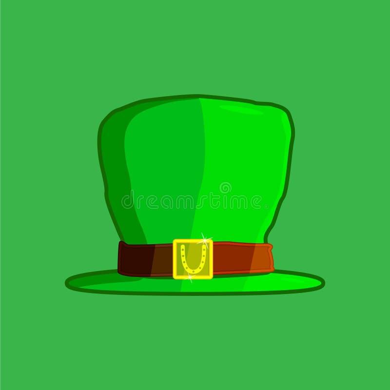 Πράσινο καπέλο ενός leprechaun, σε ένα πράσινο υπόβαθρο Ιρλανδικές διακοπές ιδιοτήτων Ημέρα StPatrick s επίσης corel σύρετε το δι διανυσματική απεικόνιση