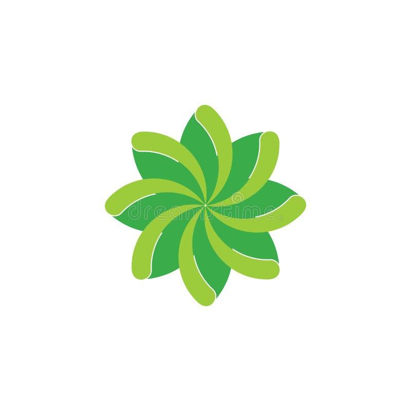 Πράσινο λογότυπο λουλουδιών στροβίλου φύλλων ελεύθερη απεικόνιση δικαιώματος