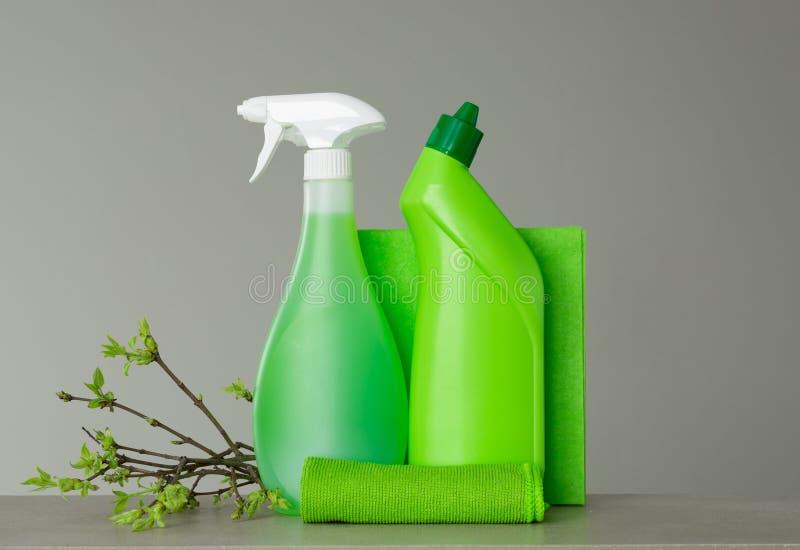 Πράσινο σύνολο για τον ανοιξιάτικο καθαρισμό και μερικοί κλαδίσκοι με τα νέα φύλλα άνοιξη στοκ φωτογραφίες