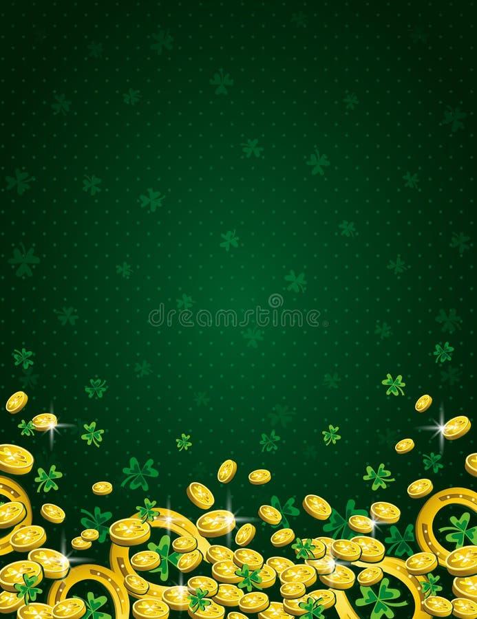 Πράσινο υπόβαθρο ημέρας Patricks με το χρυσά πέταλο, τα νομίσματα και το τριφύλλι Patrick' σχέδιο ημέρας του s γύρω από τον ε διανυσματική απεικόνιση