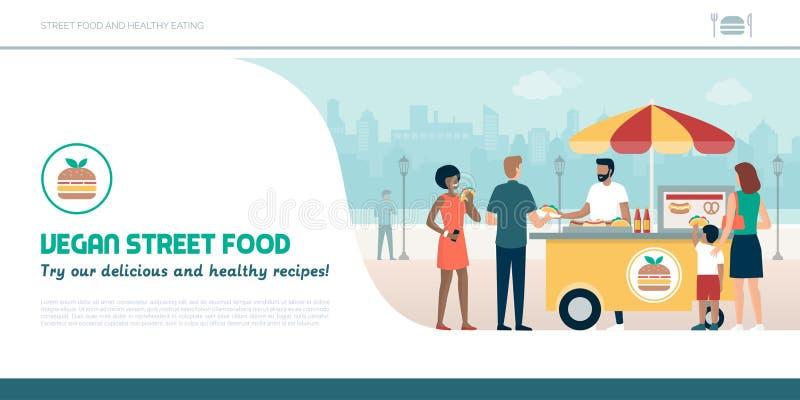 Προμηθευτής και άνθρωποι τροφίμων οδών που τρώνε τα εύγευστα vegan πρόχειρα φαγητά απεικόνιση αποθεμάτων