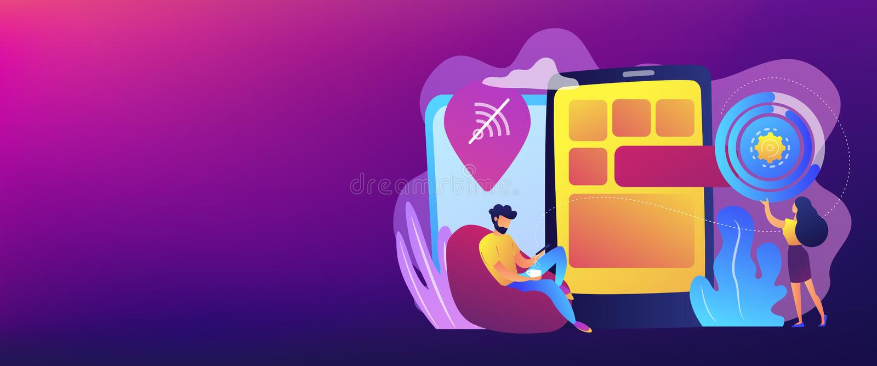 Προοδευτική app Ιστού επιγραφή εμβλημάτων έννοιας διανυσματική απεικόνιση