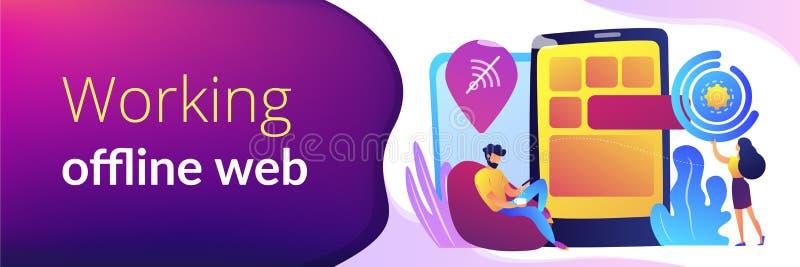 Προοδευτική app Ιστού επιγραφή εμβλημάτων έννοιας ελεύθερη απεικόνιση δικαιώματος