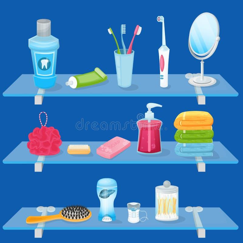 Προσωπικές προμήθειες υγιεινής επίσης corel σύρετε το διάνυσμα απεικόνισης Ράφια γυαλιού λουτρών με τις πετσέτες σαπουνιών, οδοντ διανυσματική απεικόνιση