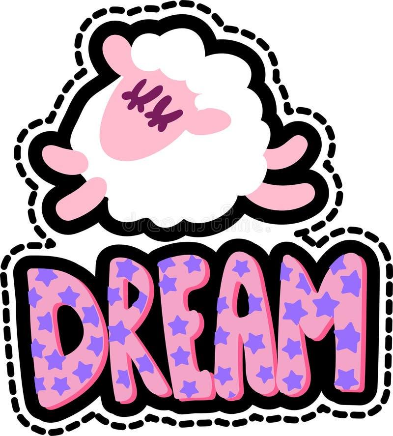 Πρόβατα με το όνειρο που γράφει το ραμμένο μπάλωμα πλαισίων ελεύθερη απεικόνιση δικαιώματος