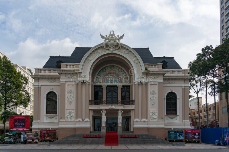 Πρόσοψη Οπερών Saigon Ιστορικό και πολιτιστικό ορόσημο της πόλης Χο Τσι Μινχ στοκ φωτογραφίες με δικαίωμα ελεύθερης χρήσης