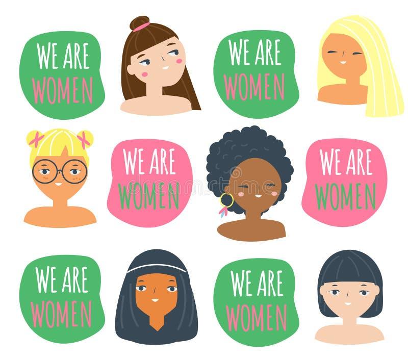 Πρόσωπα και σύνθημα γυναικών είμαστε γυναίκες Θηλυκά των διαφορετικών υπηκοοτήτων Τα αστεία κορίτσια για το φεμινισμό σχεδιάζουν, ελεύθερη απεικόνιση δικαιώματος
