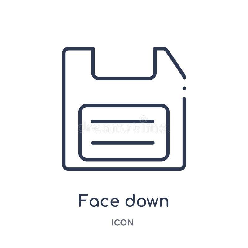 πρόσωπο κάτω από το εικονίδιο δισκετών από τη συλλογή περιλήψεων εργαλείων και εργαλείων Λεπτό πρόσωπο γραμμών κάτω από το εικονί διανυσματική απεικόνιση