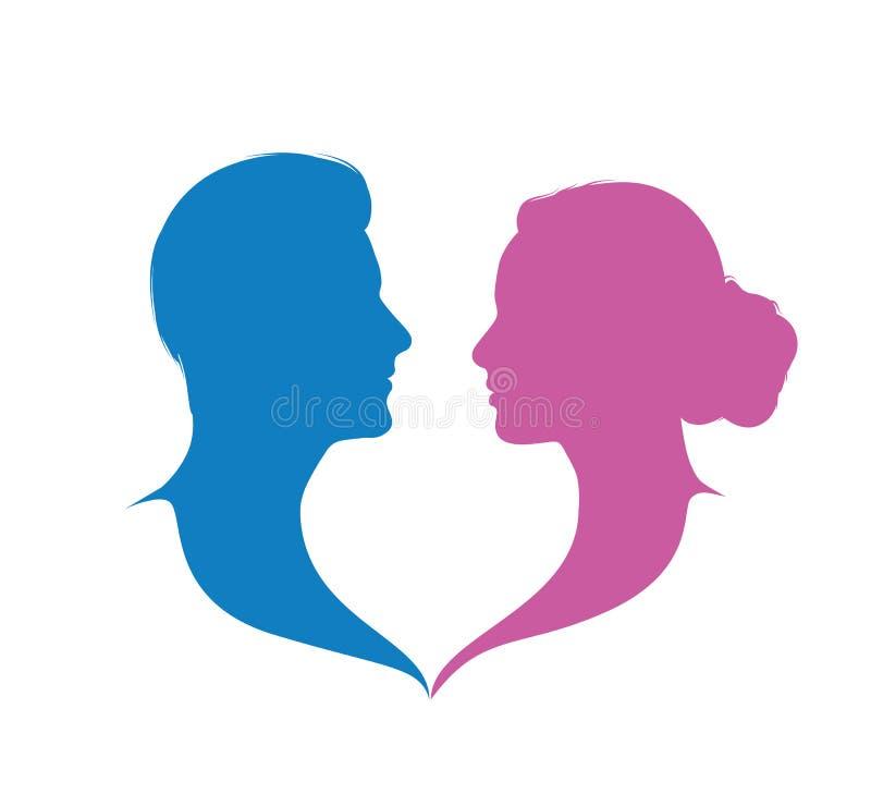 Πρόσωπο με πρόσωπο διάνυσμα λογότυπων ανδρών και γυναικών ελεύθερη απεικόνιση δικαιώματος