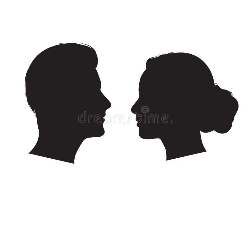 Πρόσωπο με πρόσωπο διάνυσμα σκιαγραφιών ανδρών και γυναικών απεικόνιση αποθεμάτων