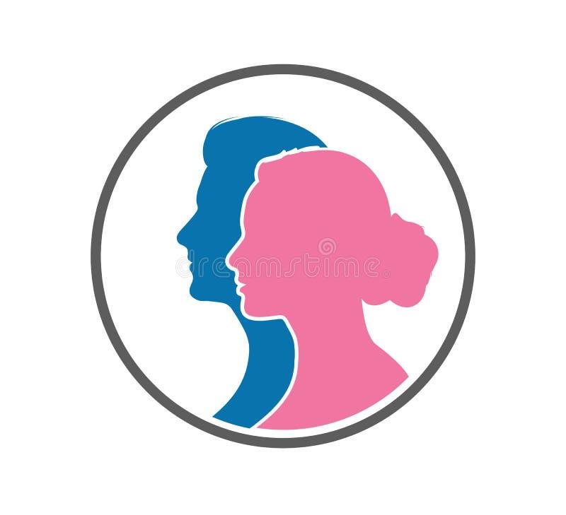 Πρόσωπο με πρόσωπο διάνυσμα σκιαγραφιών ανδρών και γυναικών διανυσματική απεικόνιση