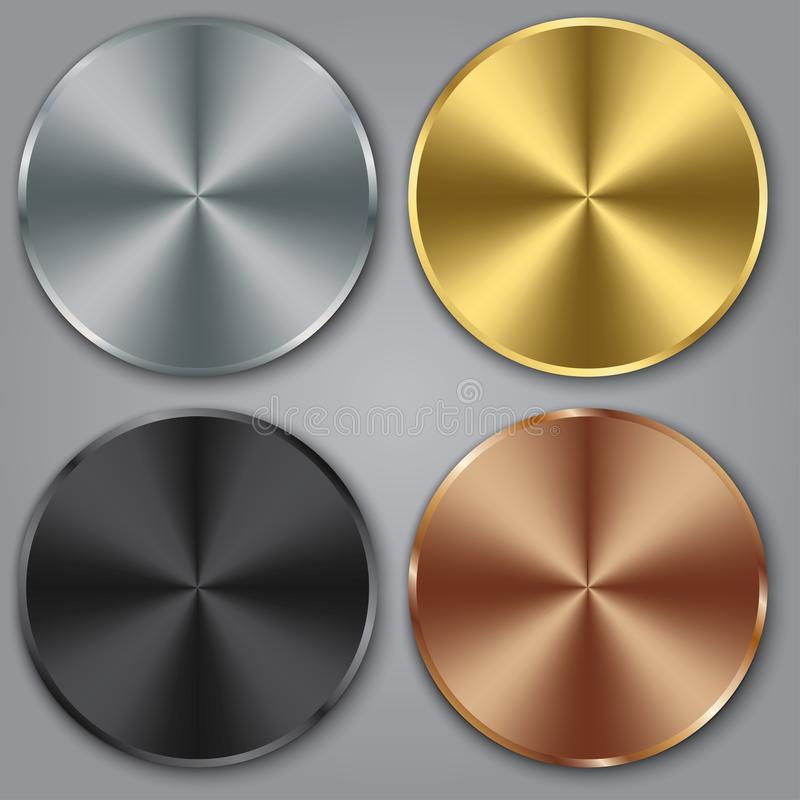 Πρότυπα μετάλλων που τίθενται με τη σύσταση, κουμπί μετάλλων που τίθεται με τη σύσταση, ασήμι, χρυσός, χαλκός, διανυσματική απεικ απεικόνιση αποθεμάτων