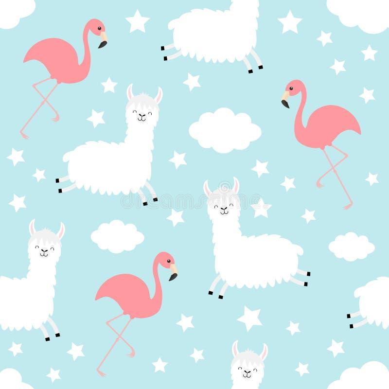 πρότυπο άνευ ραφής Llama προβατοκαμήλου Φλαμίγκο Αστέρι σύννεφων στον ουρανό Χαριτωμένος κινούμενων σχεδίων χαρακτήρας μωρών kawa διανυσματική απεικόνιση