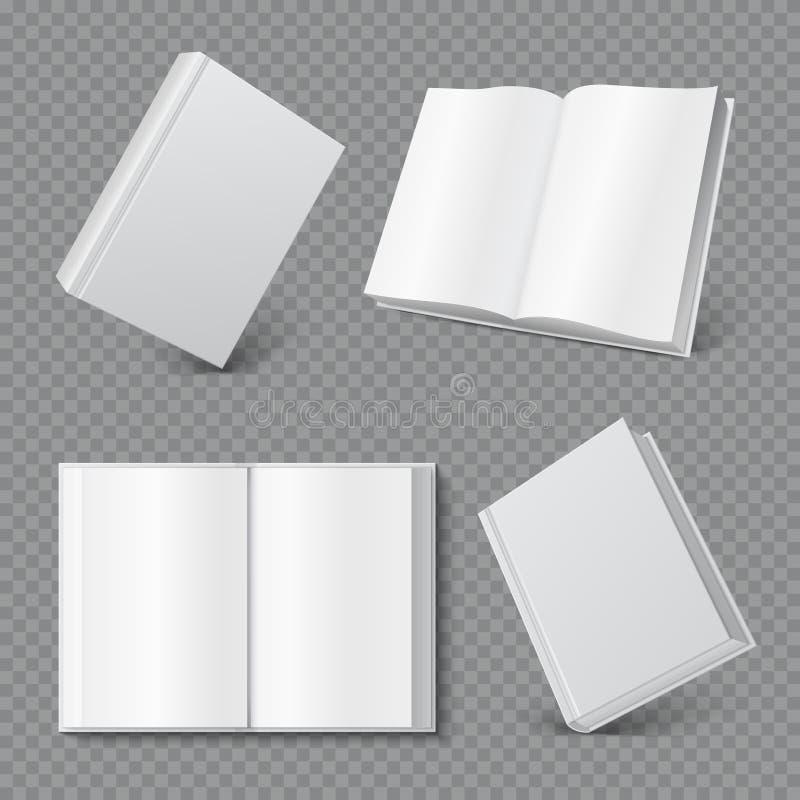 Πρότυπο κάλυψης βιβλίων Ρεαλιστική κενή κάλυψη βιβλιάριων, άσπρη επιφάνεια φυλλάδιων, κενή χλεύη περιοδικών χαρτόδετων βιβλίων επ ελεύθερη απεικόνιση δικαιώματος
