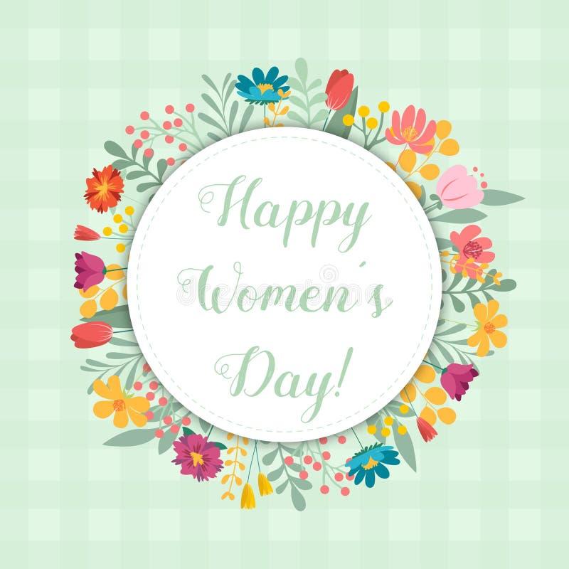 Πρότυπο καρτών πρόσκλησης ημέρας των διεθνών γυναικών, floral σχέδιο ελεύθερη απεικόνιση δικαιώματος