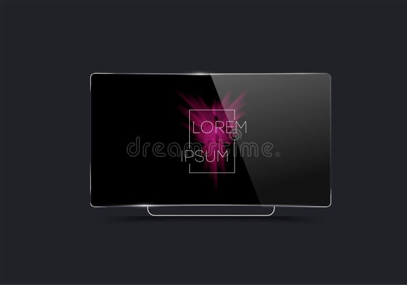Πρότυπο των ρεαλιστικών συσκευών Οθόνη TV διανυσματική απεικόνιση