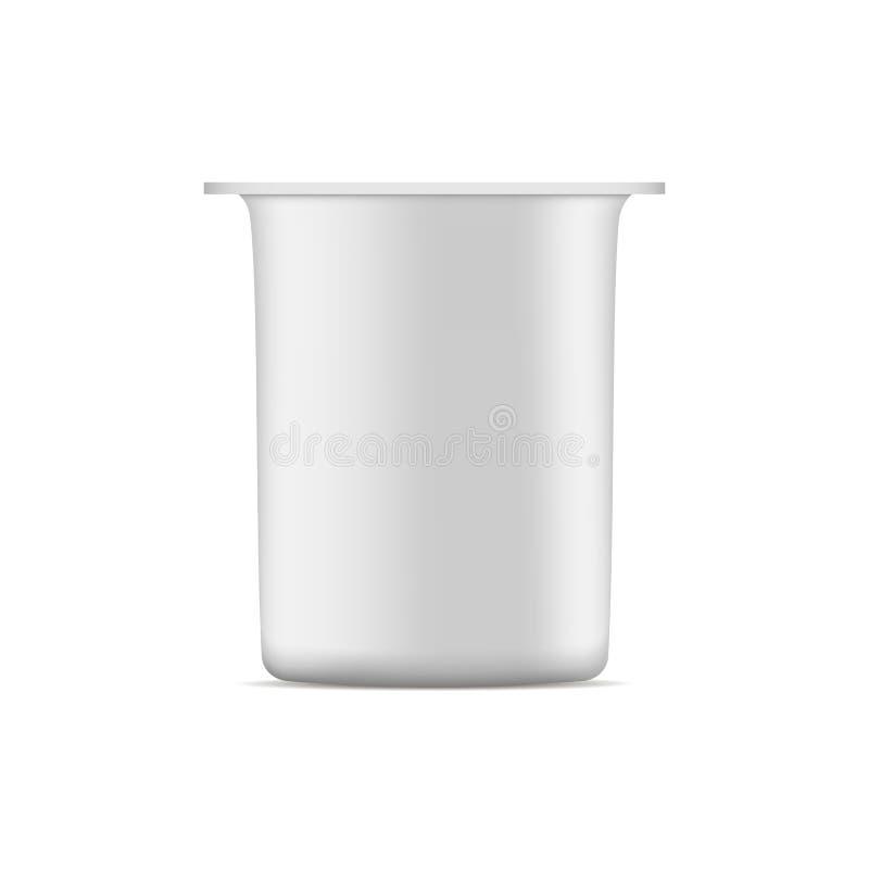 Πρότυπο φλυτζανιών γιαουρτιού που απομονώνεται στο άσπρο υπόβαθρο απεικόνιση αποθεμάτων
