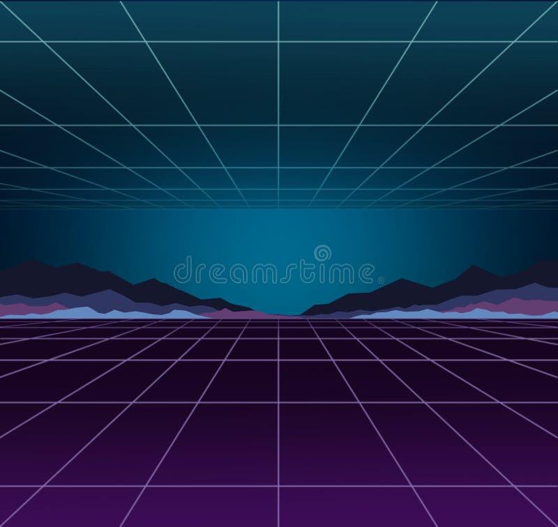 Πρότυπο υποβάθρου νέου Προοπτική ηλεκτρικού φωτός Αναδρομικά παιχνίδια στον υπολογιστή, sci-Fi τεχνολογία, εκλεκτής ποιότητας γρα διανυσματική απεικόνιση