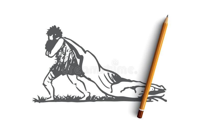 Πρωτόγονος, άτομο, θήραμα, caveman, έννοια κυνηγών συρμένο διάνυσμα χεριών διανυσματική απεικόνιση