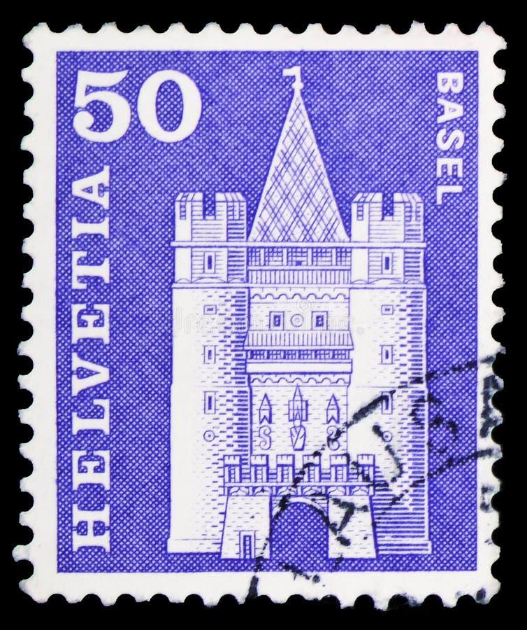Πύλη Spalen, Βασιλεία, ταχυδρομικά κίνητρα ιστορίας και μνημεία serie, circa 1963 στοκ φωτογραφία με δικαίωμα ελεύθερης χρήσης