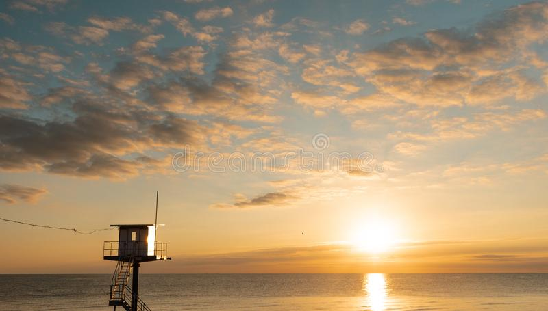 Πύργος διάσωσης - η θάλασσα της Βαλτικής - νησί Usedom στοκ φωτογραφία