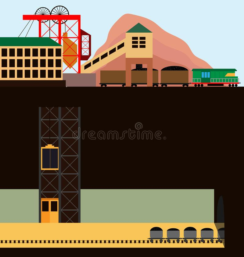 Πύργος στο μπλε ουρανό Απεικόνιση της μεταλλείας στο τμήμα επίσης corel σύρετε το διάνυσμα απεικόνισης διανυσματική απεικόνιση